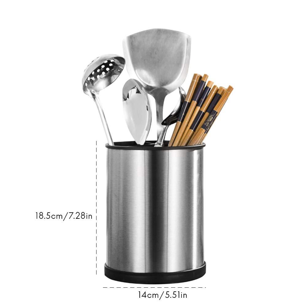 organizador giratorio de acero inoxidable para almacenar utensilios de cocina y servir Soporte giratorio para utensilios de cocina de Koowaa
