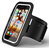 Sports Armband for Apple iPhone 6/6S, Black Neoprene, Water, and Sweat Resistant, Adjustable Sports Armband for Running and Fitness Activities, Hands Free, Key Compartment, Easy Touch screen Access