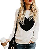 Free Rose Women's Pullover Sweaters Long Sleeve Crewneck Cute Heart Knitted Sweaters