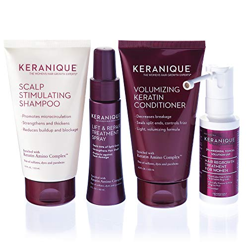 Keranique Hair Regrowth System - 30 Days - Keratin Amino Complex - Free of Sulfates, Dyes and Parabens, Includes Shampoo and Conditioner, Minoxidil and Lift and Repair Spray for Fine Thinning Hair
