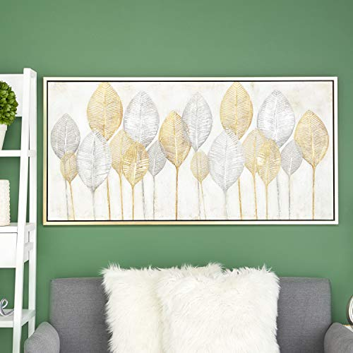 CosmoLiving by Cosmopolitan 43999 Large, Rectangular Gold & Silver Leaves Acrylic Painting Wall Art | 55