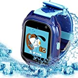 Powpro S8 Watch Phone Waterproof GPS Tracker Kids Smart Phone Watch Touchscreen with Camera Child Boys Girls Anti-Lost SOS Cellphone Watch Compatible for Android and IOS (Blue)