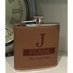 Personalized Tan Hide-stitch Flask Free Engraving