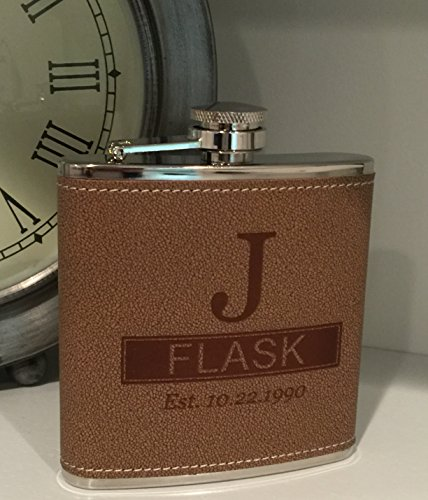 - Personalized Tan Hide-stitch Flask Free Engraving