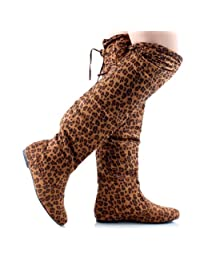 Women's Faux Suede Thigh High Lace Up Boots in Zebra, Leopard, Black, Gray, Brown