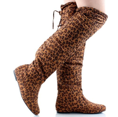 Women's Faux Suede Thigh High Lace Up Boots in Zebra, Leopard, Black, Gray, Brown (6.5, Leopard) (Print Boots Zebra)