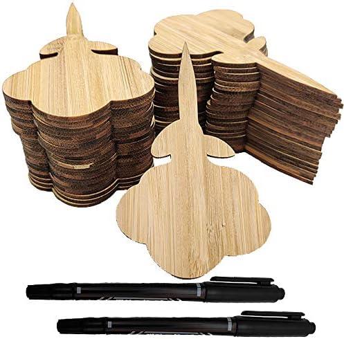 Aisamco 50 Pezzi di Etichette di Piante di bambù (6 cm x 9 cm) con 2 pennarelli per ortaggi a Penna Etichette per Piante di Tipo Floreale Etichette da Giardino per Semi Erbe in Vaso Fiori Piante