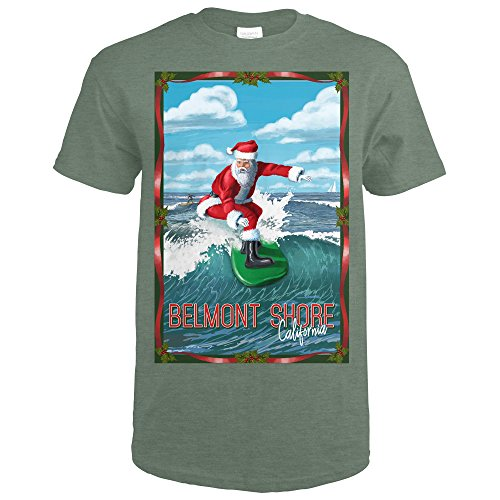 Belmont Shore, California - Santa Surfing (Heather Military Green T-Shirt - Shore Belmont California
