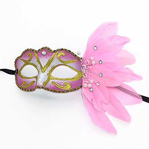 Mardi Gras Party Masquerade Mask,Catwalk Makeup Prom mask Carnival Christmas Halloween Painted Feather mask Party Half face mask Pink Prom -