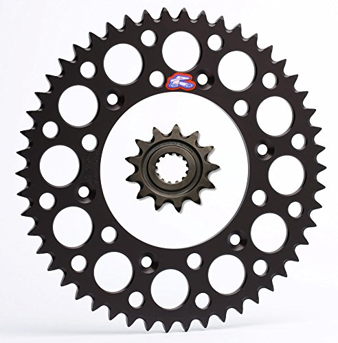Renthal Grooved Front & Ultralight Rear Sprockets Kit - 13/50 BLACK - Yamaha YZ250F, WR250F