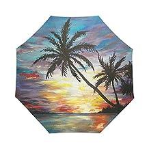 Tropical Beach Sunset Palm Trees Painting Auto Folding Umbrella Portable Foldable Umbrella Sun Rain Umbrella