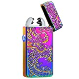 Kivors USB Rechargeable Windproof Flameless Electronic Pulse Double Arc Cigarette Lighter Belief Chinese Dragon Loong Lighter
