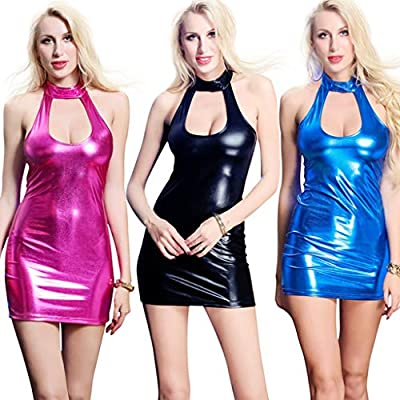 Excursion Clothing Women Shiny PU Leather Slim Fit Halter Sexy Cutout Sheath Bodycon Cocktail Party Mini Club Dress