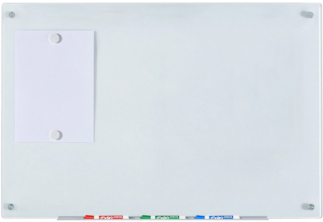 Magnetic Glass Dry-Erase Board Set - 23 5/8'' x 35 1/2'' - Includes Board, 2 Magnets, and Aluminum Marker Tray