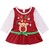 Toddler Kids Baby Girls Sundress Skirt Party Casual Christmas Dresses (Red, 6-12 Months)