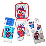 Summer Fun Products Mainstays 4 Piece Kitchen Bundle - Pot Holder, Oven Mitt, 2 Dish Towels - Fun Design (Patriotic Owl)