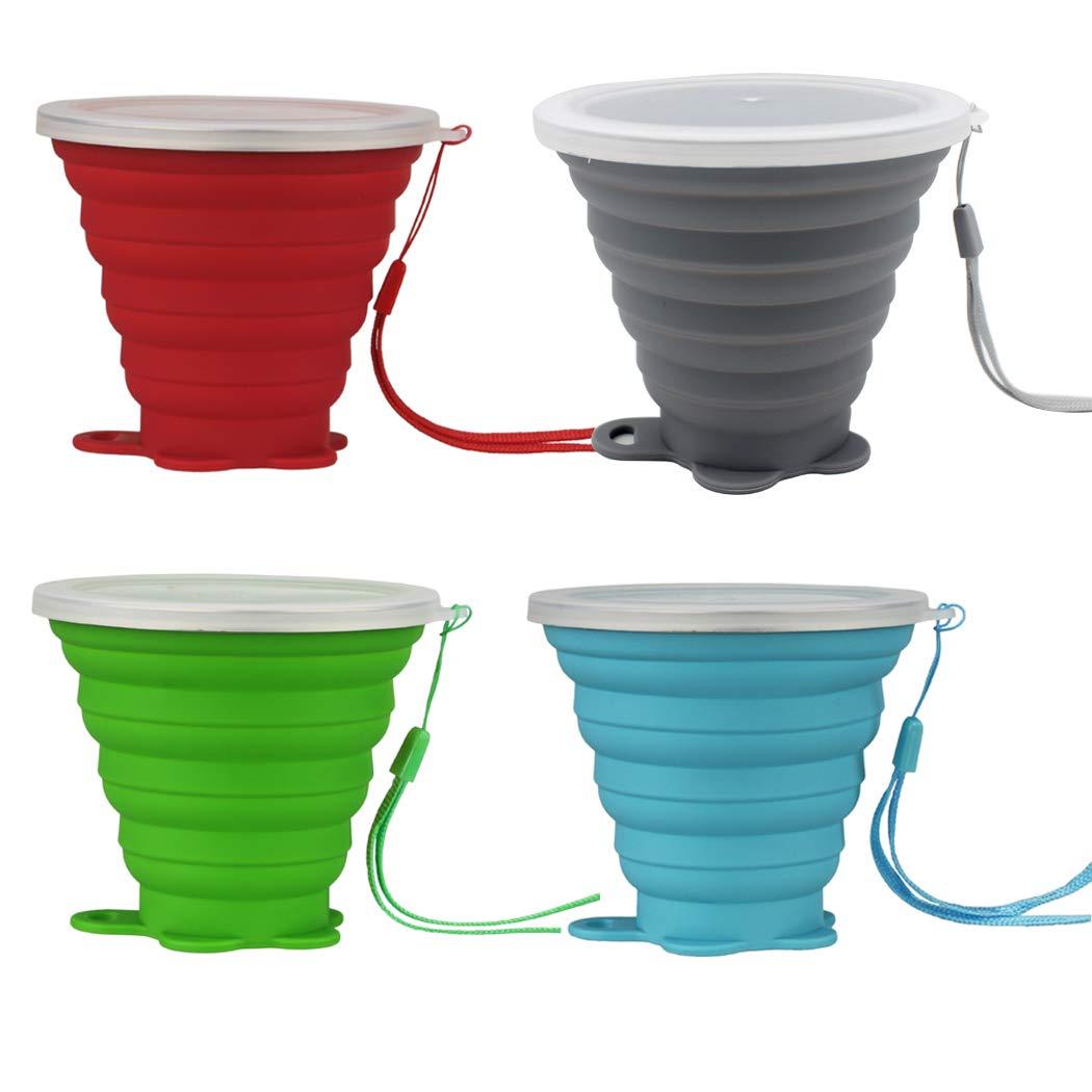 Hillento 4pcs Tasse de caf/é Pliable Tasse en Silicone Tasse//Bouteille de Sport Tasse avec des couvercles Tasse de Voyage Pliable et Portable /& l/éger pour la randonn/ée en Camping en Plein air,260ml