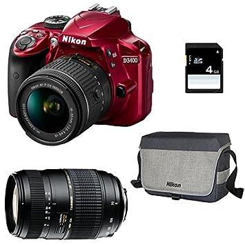 NIKON D3400 Rouge + 18-55 VR + TAMRON 70-300 DI + Sac + SD 4Go ...