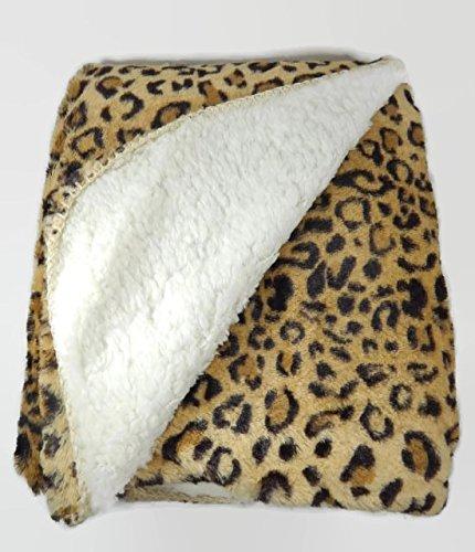Regal Comfort Faux Fur Leopard Print Full Queen 79x96 Blanket Luxury Plush Sherpa Backed - Comfort Luxury Plush