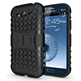 JKase DIABLO Series Tough Rugged Dual Layer Protection Case Cover with Build in Stand for Samsung Galaxy Grand i9080, Samsung Galaxy Grand Duos i9082 - Retail Packaging (Black)