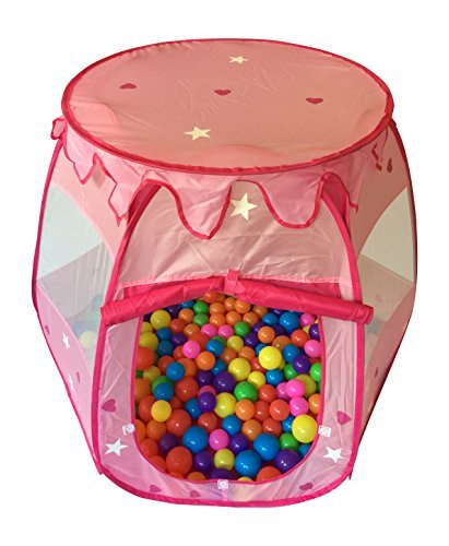 Stars & Hearts Princess Castle Play Tents for Girls w/ Removable Roof - Pop Up Children Play Tent for Indoor & Outdoor Use - Beautiful Fairy Princess Castle Tent w/ Zipper Storage Case