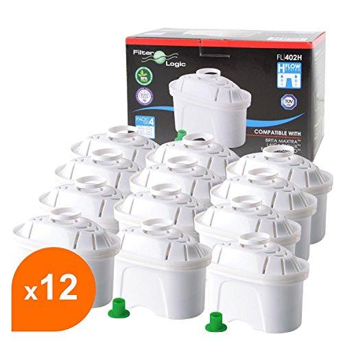 FilterLogic FL402H - 12er Pack Filterkartuschen für Tischwasserfilter - kompatibel mit Brita ® Maxtra ® für Bosch, Siemens, Tassimo TAS40, TAS45, TAS55, TAS65, TAS85, T45, T65 u.a. / BWT Filterkannen / Bosch Filtrino Heißwasserspender - 463675 - 00463675
