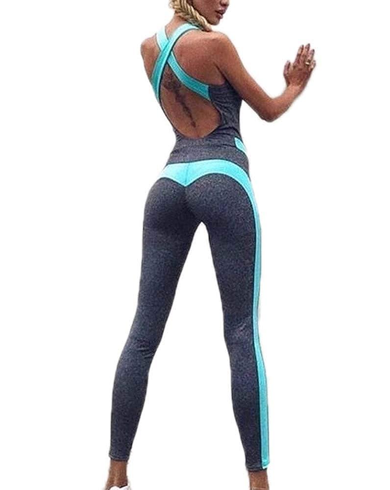 Domorebest Women Yoga Running Fitness Leggings High Elastic Workout Pants Jumpsuit Sport Romper Playsuit