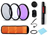 Lens Filter Universal Camera Lens Accessory Kits Ultra Slim High Definition 72mm UV CPL FLD Filter + Petal Lens Hood + Center Lens Cap Set + Cleaning Pen + Cleaning Wipe for Canon Nikon Sony SLR(72MM)