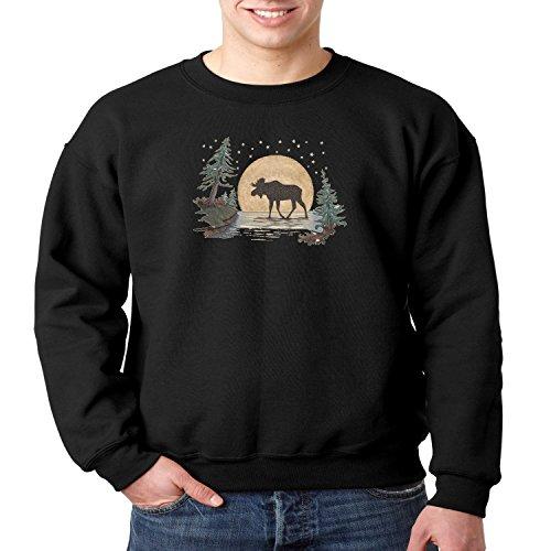 Juiceclouds Moonlight Moose Crewneck Sweatshirt Wild Life (Black, 3XL) -