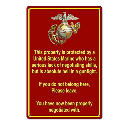 Sign Corps Marine - Property Protected by Marine USMC Marine Corps Funny Tin Sign Metal Sign Metal Decor Wall Sign Wall Poster Wall Decor Door Plaque TIN Sign 7.8X11.8 INCH