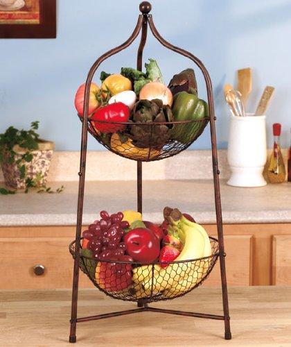 2 Tier Bronzed Metal Scrolled Storage Fruit Basket Kitchen Organizer