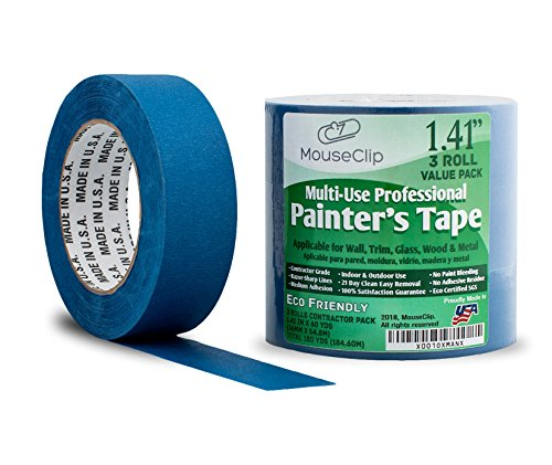 3 Pack Painters Tape, Professional Blue Tape for Multi Surfaces, Eco Friendly 21 Day Clean Easy Removal, Contractor Grade Masking Tape, Package of 3 Rolls 1.41