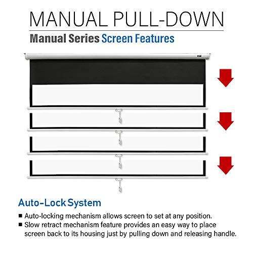 """16:9 Manual Projection Screen Pull Down HD Movie Projector 100/"""" Auto Lock"""