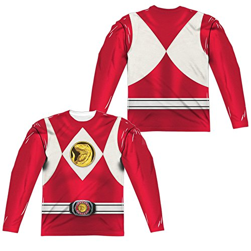 Power Rangers - Red Ranger Emblem Costume All Over Front/Back Print Long Sleeve (Red Power Rangers Long Sleeve Costumes Shirt)
