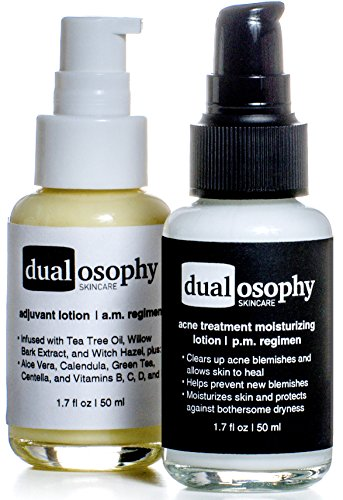 DualCare Acne Treatment System: Organic Tea Tree Oil and 3% Benzoyl Peroxide Lotions.