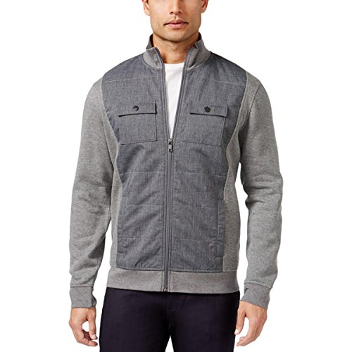 Alfani Mens Mixed Media Long Sleeves Basic Jacket Gray (Alfani Jacket)