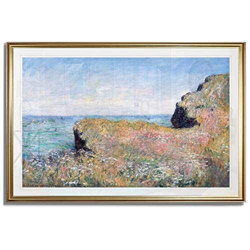 Monet Wall Art Collection Edge of The Cliff, Pourville, 1882 Fine Giclee Prints Framed Wall Art Ready to Hang 16X22, Gold, 750MONET