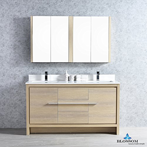 BLOSSOM 014-60-20-MC Milan 60'' Double Vanity Set with Medicine Cabinets Briccole Oak by Blossom