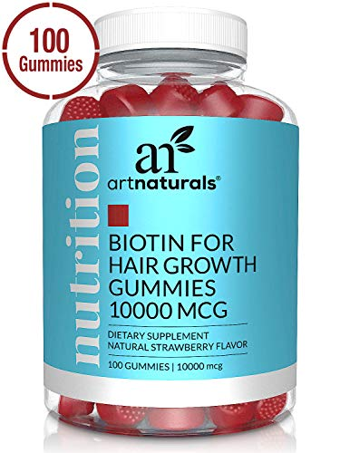 ArtNaturals Biotin Gummies for Hair Growth - (100 Gummies - 10000mcg) - Natural Strawberry Vitamins Supports Nails and Skin - Gelatin, Gluten, Nut and Egg Free