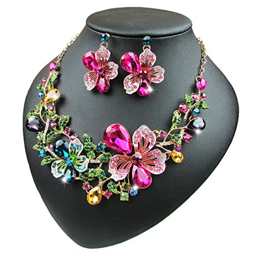 Yuhuan Women Costume Jewelry Crystal Statement Necklace and Earrings Sets Chunky Jewelry Set