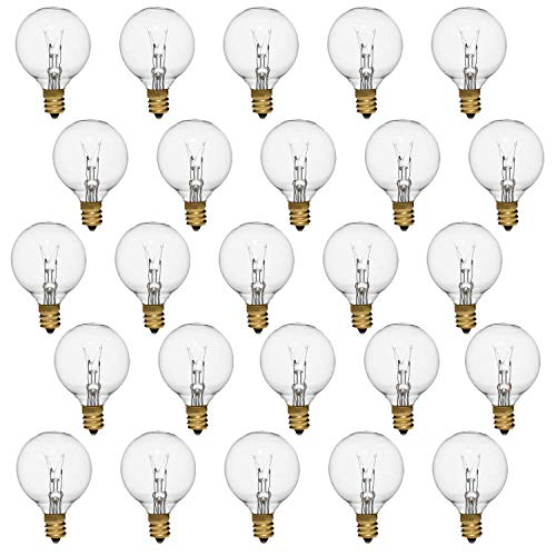 (Small Light Bulbs, Clear G40 Replacement Globe Bulbs with Candelabra Screw Base, E12 Candelabra Base,String Light Bulbs­-25Pack)