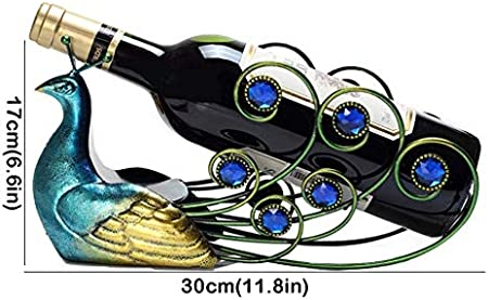 Estante de vino para encimera, hueco, azul, pavo real, estante para vino, un regalo para los amantes del vino, moda, escritorio, decoración de habitaciones, accesorios de cocina, 6.6 pulgadas de alto