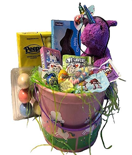 Girls Magical Rainbow Unicorn Themed Large Easter Basket Gift Set