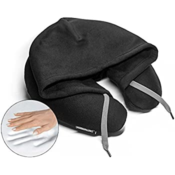 HoodiePillow Memory Foam Travel Pillows (Black)