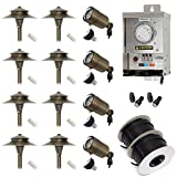 Lightkiwi W7482 Low Voltage LED Landscape Lighting Kit - (4) Macro Spotlight (8) Path Light Kit