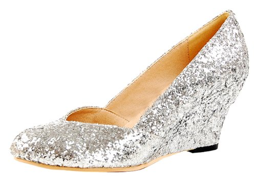 Honeystore Women's Wedge Sequins Fabric Pump Silver 7 B(M) US (Best Submersible Well Pump Reviews)