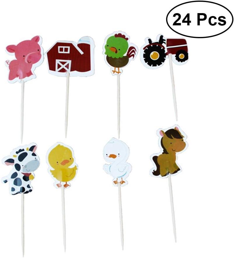 Toyvian Suministros de decoración de Pasteles de cumpleaños para niños de Cupcake Toppers para cumpleaños de Granja 24 Piezas
