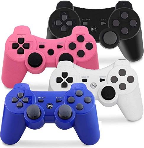PS3 Controller Wireless, Gaming Remote Joystick for Playstation 3 with Charger Cable Cord (Black, Pink, White, Blue) (Color: Black, Pink, White, Blue)