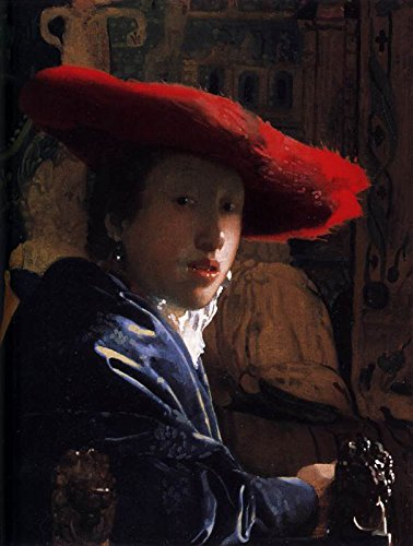 """Johannes Vermeer - Girl with a Red Hat - National Gallery of Art - Washington DC 30"""" x 23"""" Wall Art Giclee Canvas Print (Unframed)"""