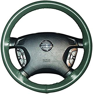 product image for Wheelskins Genuine Leather Green Steering Wheel Cover Compatible with Oldsmobile Vehicles -Size AXX
